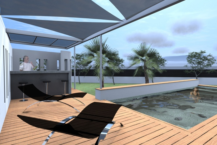 La maison m projet de pool house et piscine solli s for Plan pool house piscine